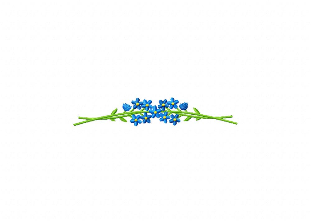 Forget Me Not Flower Border Machine Embroidery Design 1000x721