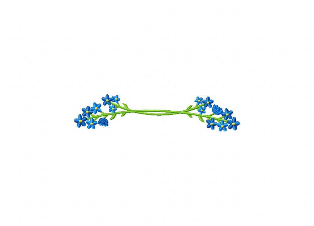 Forget Me Not Flower End Border Machine Embroidery Design