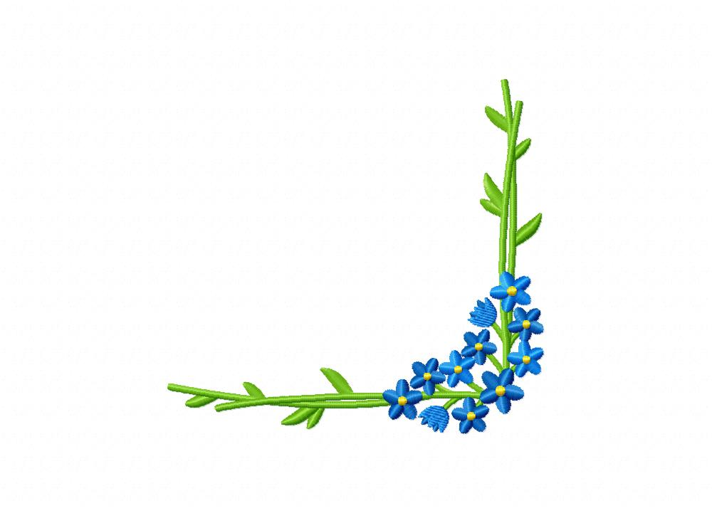 Forget Me Not Flower Corner Machine Embroidery Design