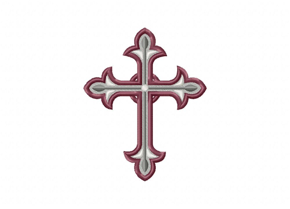 Ornate Rustic Cross Includes Both Applique And Stitched Blasto Stitch