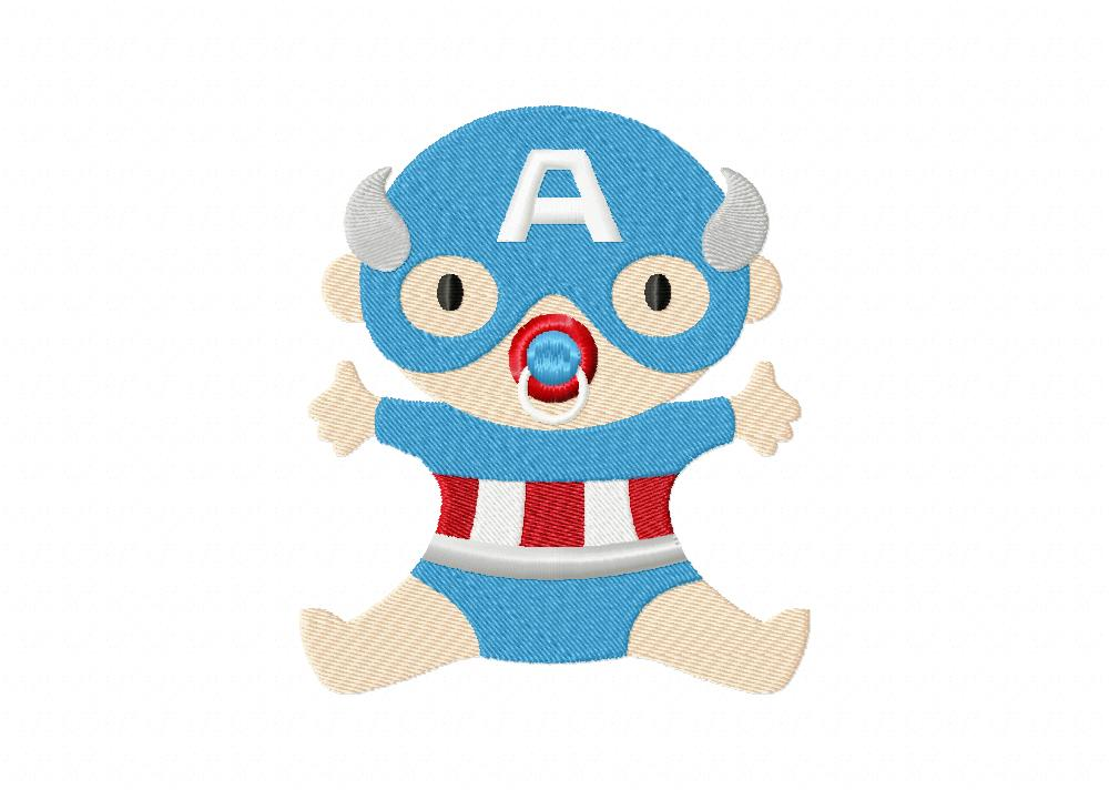 captain america baby machine embroidery design