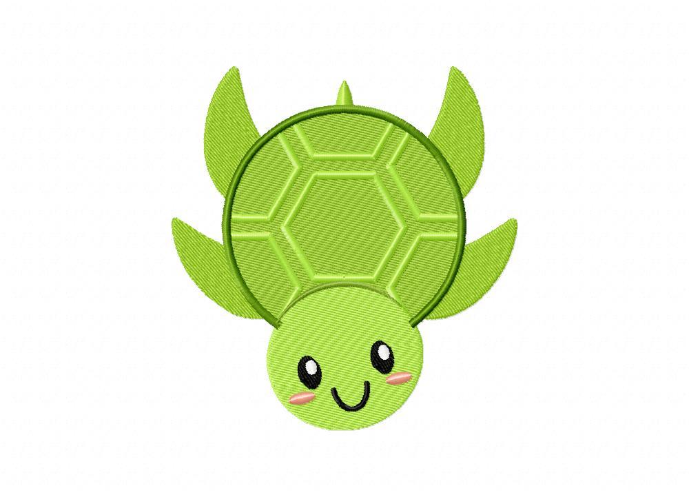 Cute Smiling Sea Turtle Machine Embroidery Design Blasto Stitch