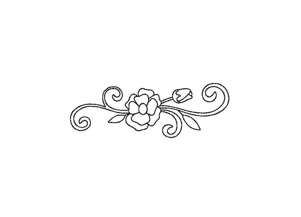 Flower Spray Outline Machine Embroidery Design Blasto Stitch