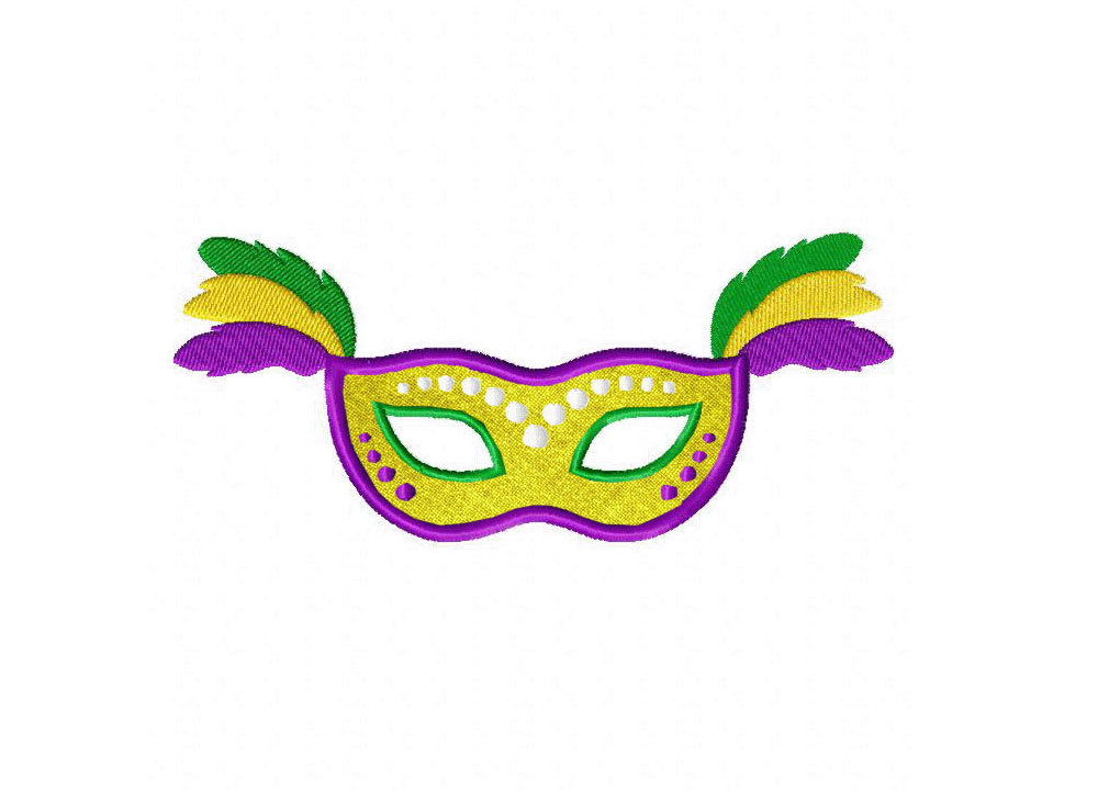 mardi gras mask yellow includes both applique and stitched blasto