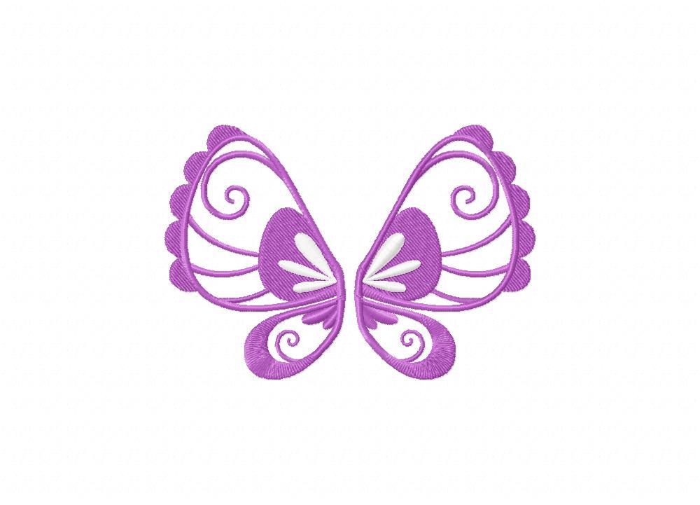 Pretty Lavender Butterfly Wing Machine Embroidery Design Blasto Stitch