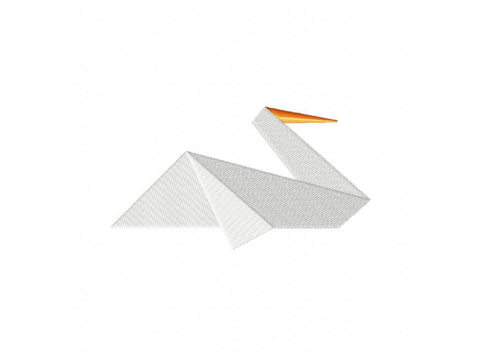 Origami Pelican Machine Embroidery Design Blasto Stitch