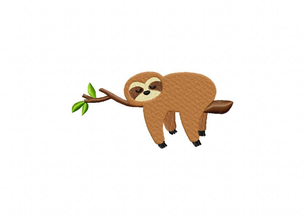 Sloth Tree Branch Machine Embroidery Design