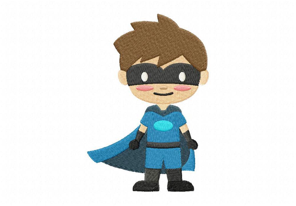 Blue Boy Superhero Machine Embroidery Design