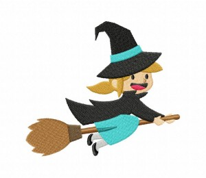 Halloween Cute Teal Witch Stitched 5_5 Inch