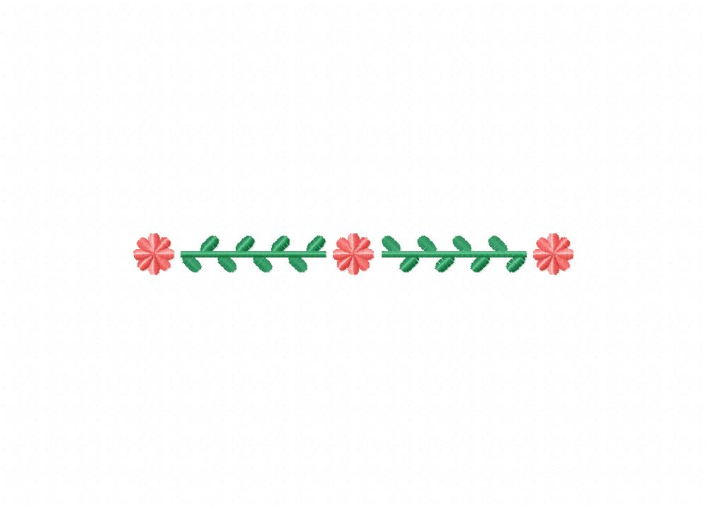 Simple Flower Leaf Border Machine Embroidery Design