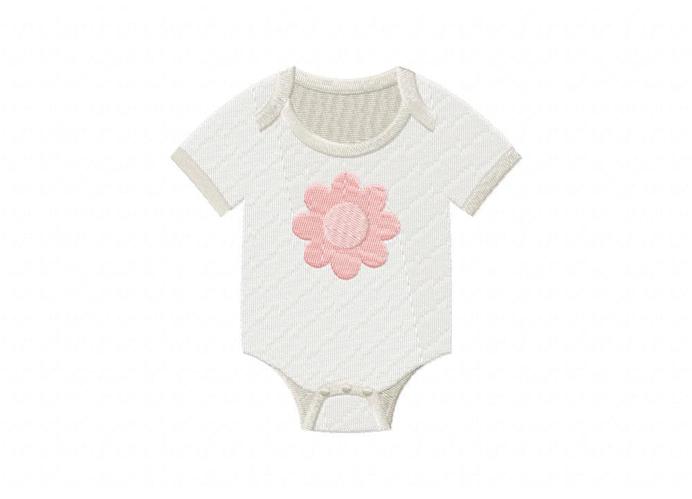 Baby Girl Onesie Flower Machine Embroidery Design Blasto Stitch