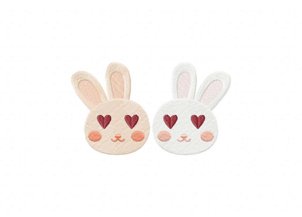 Valentine Bunnies Eyes Heart Machine Embroidery Design Blasto Stitch