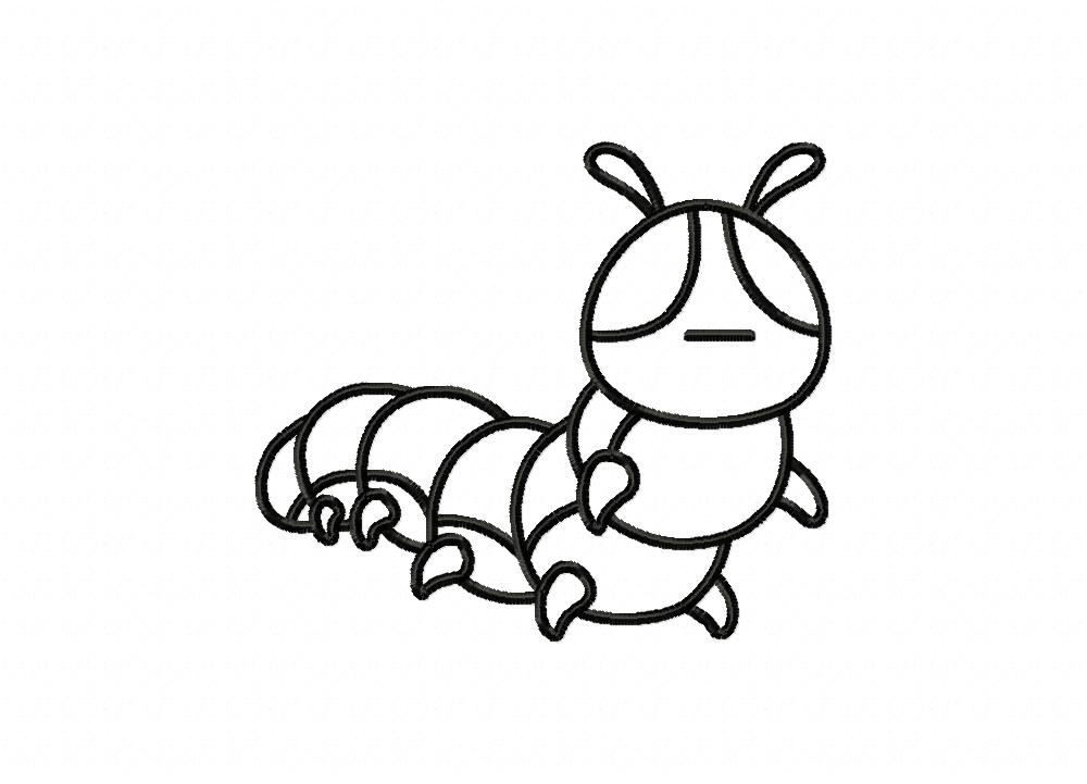 be26e680010 Caterpillar Insect Outline Machine Embroidery Design