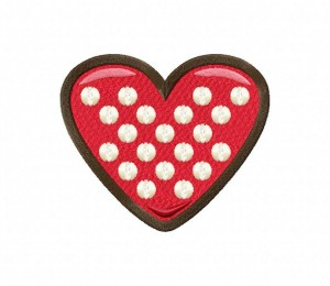 Chocolate Heart CookieStitched 5_5 Inch