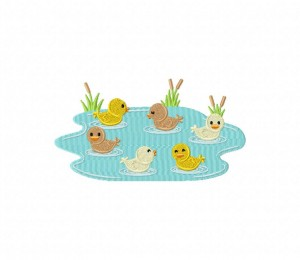 Ducklings Swimming In The Pond 5_5 inch