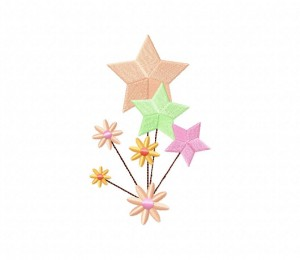 Gentle Stars and Flowers Stitched 5_5 Inch