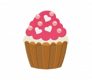 Heart Cupcake And Pearls Stitched 5_5 Inch