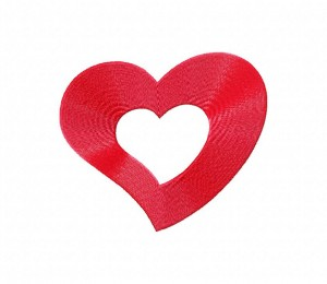 Red Bold Heart Shape Stitched 5_5 Inch