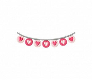 Valentines Day Full Hearts Bunting Stitched 5_5 Inch