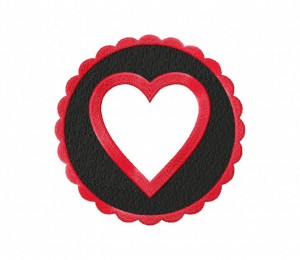Black And Red Round Heart Frame Stitched 5_5 Inch