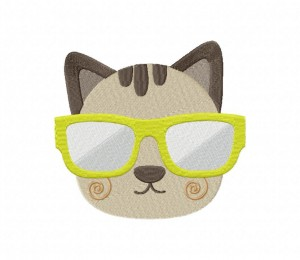 Kitten And Sunglass Stitched 5_5 Inch