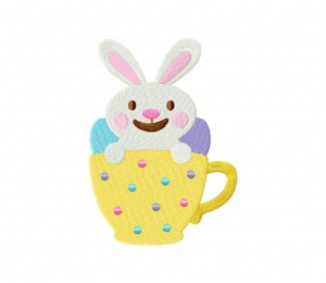 Easter Yellow Teacup Stitched 5_5 Inch