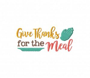 Give Thanks for the Meal Stitched 5_5 Inch