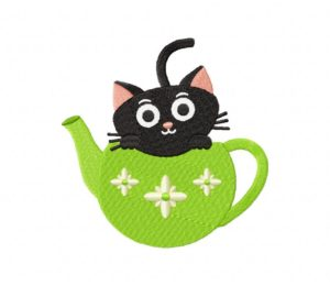 Green Tea Time Kitty Stitched 5_5 Inch
