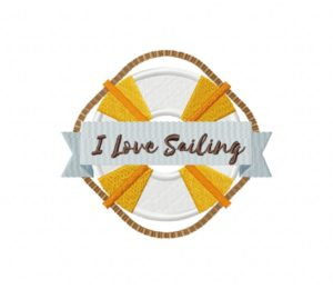 I Love Sailing Stitched 5_5 Inch