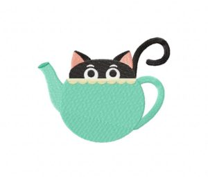 Teal Tea Time Kitty Stitched 5_5 Inch