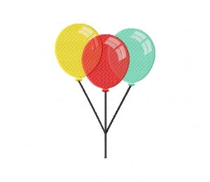Three Colorful Party Balloons Stitched 5_5 Inch