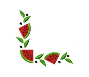 Watermelon Corners Stitched 5_5 Inch
