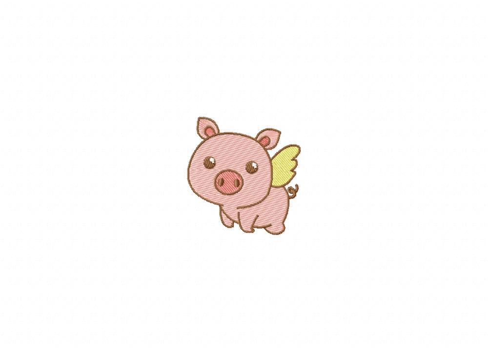 cute piggy cupid machine embroidery design blasto stitch