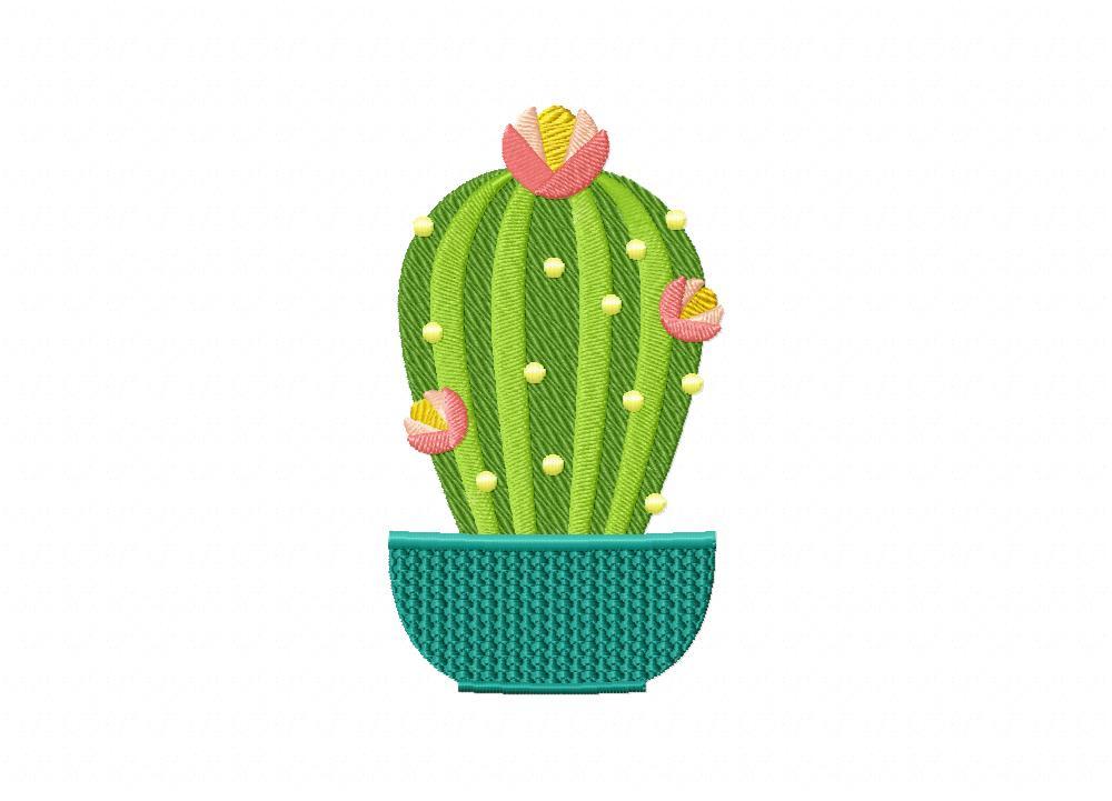 Flowering cactus machine embroidery design