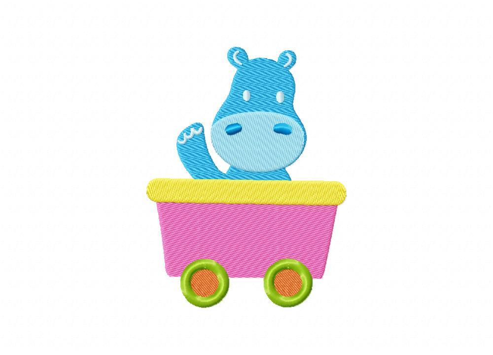 Cute hippo cart ride machine embroidery design