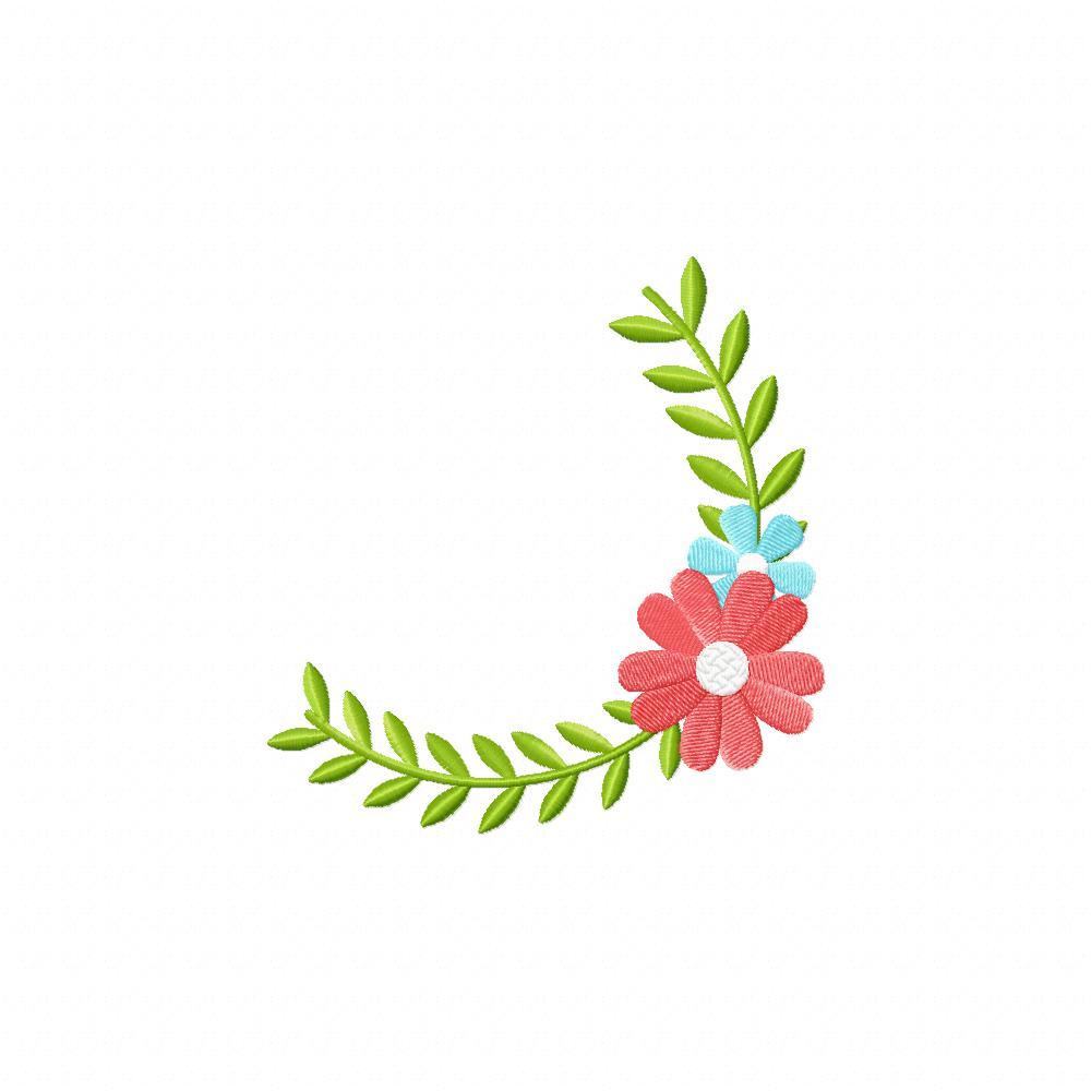 Spring Flower Corner Machine Embroidery Design Blasto Stitch