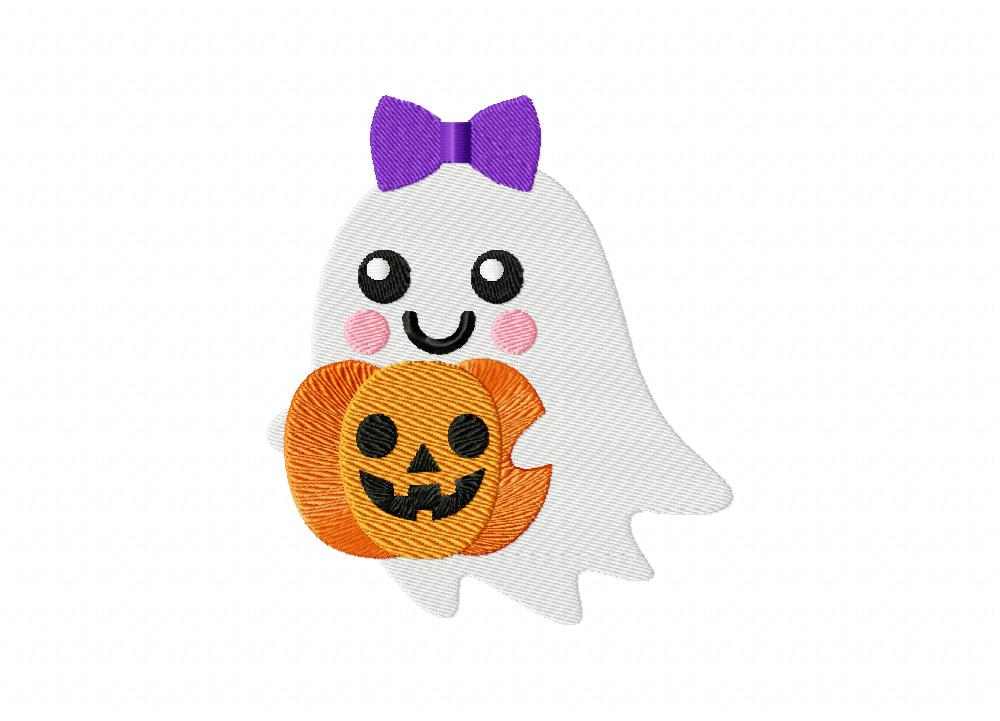 Cute Ghost Jack O Lantern Stitched Machine Embroidery Design Blasto Stitch
