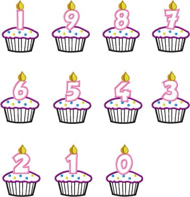 Machine Applique Birthday Cupcake Candle Numbers Set