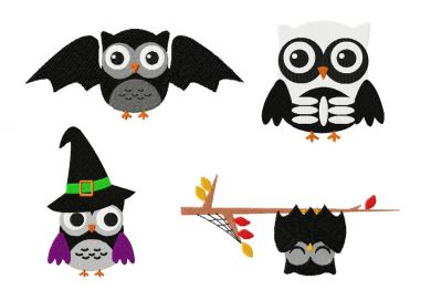 Spooky Halloween Owl Four Pack Machine Embroidery Designs